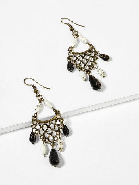Color Block Bead Hollow Drop Earrings 1pair