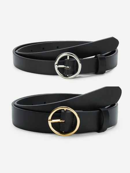 Circle Buckle Belt 2pcs