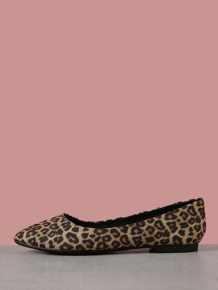 Leopard Wide Fit Pointy Toe Flats