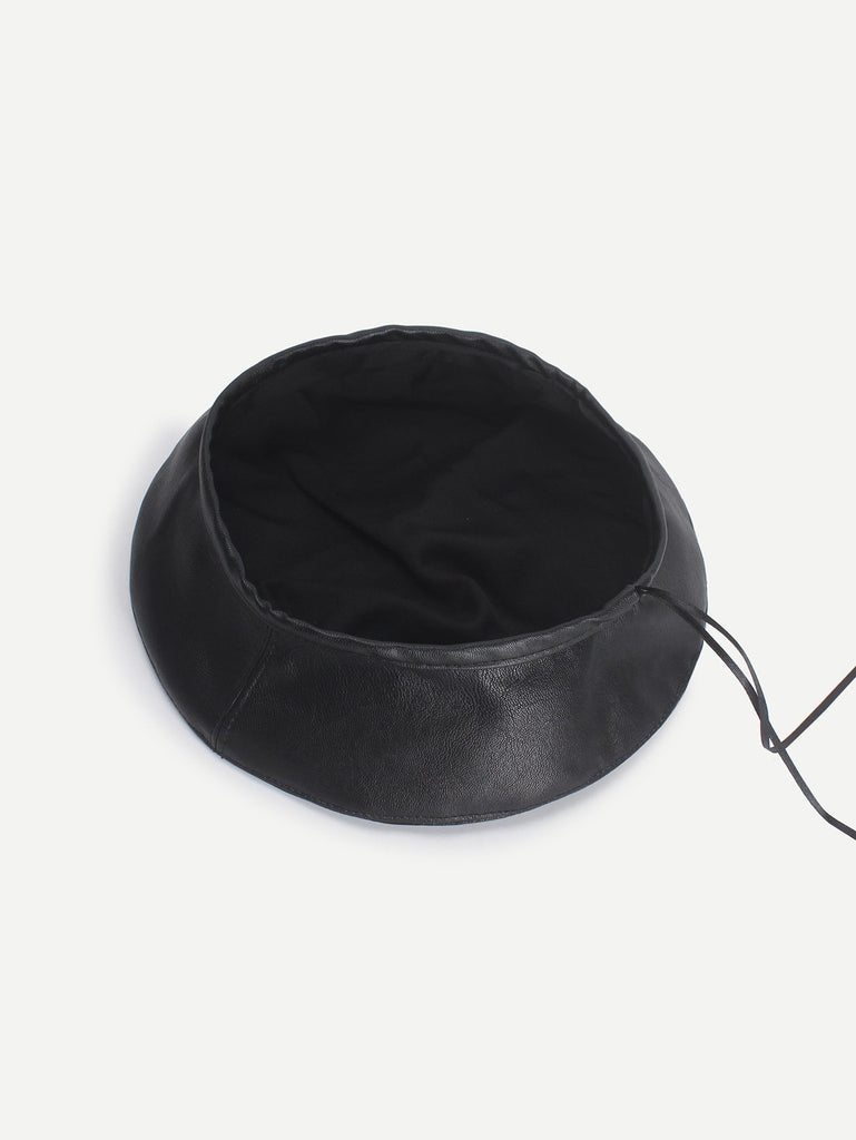 PU Plain Beret Hat