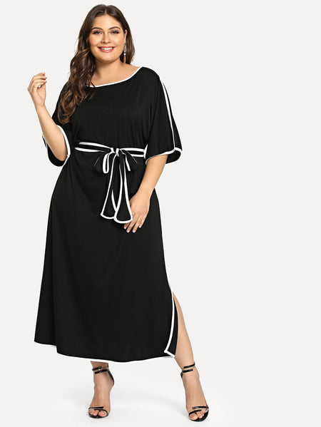 Plus Contrast Trim Split Dress