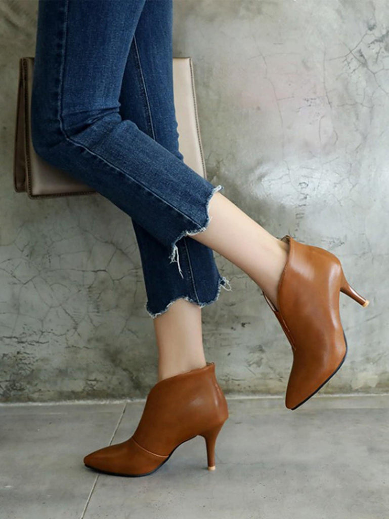 V Cut Stiletto Heeled Boots