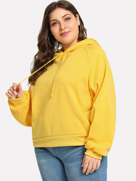 Plus Drawstring Solid Sweatshirt