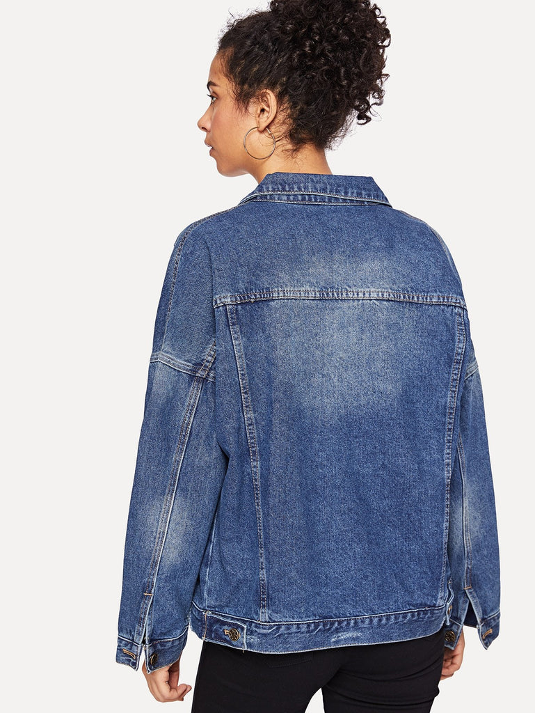 Drop Shoulder Ripped Denim Jacket