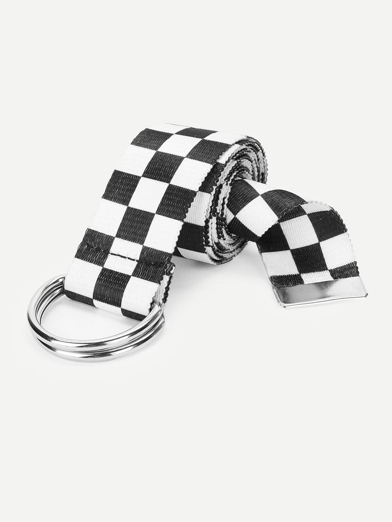 D-Ring Buckle Checked Belt