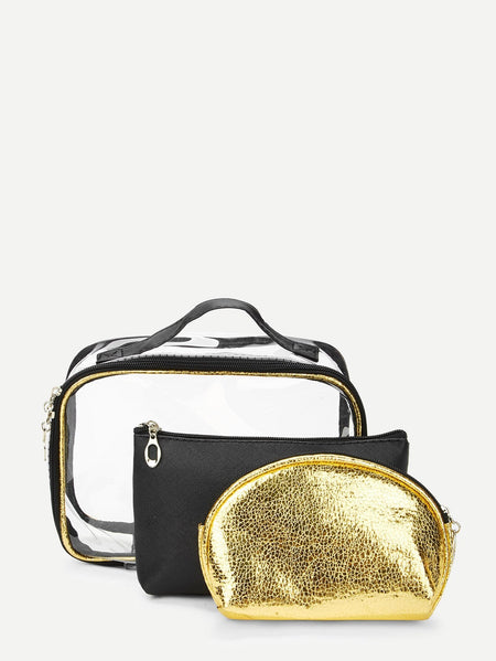 Metallic Makeup Bag 3pcs