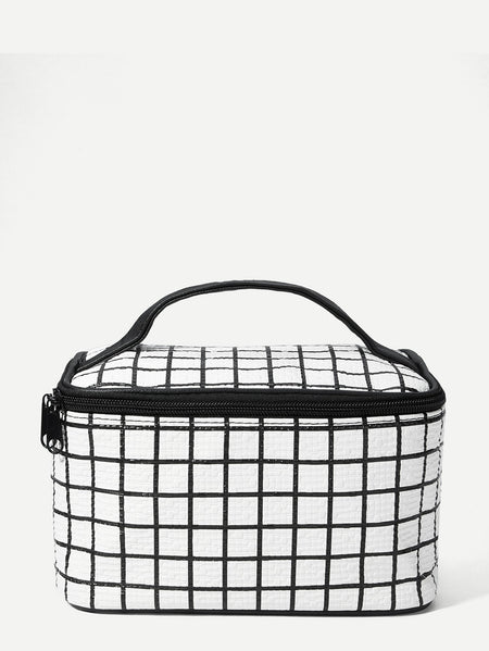 Grid Zipper Makeup Bag