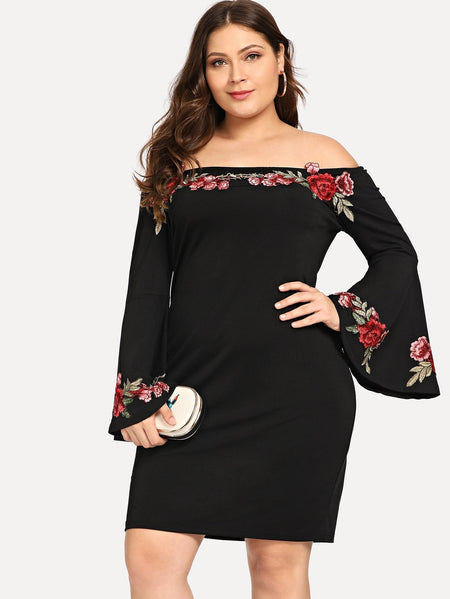 Plus Off Shoulder Rose Applique Dress