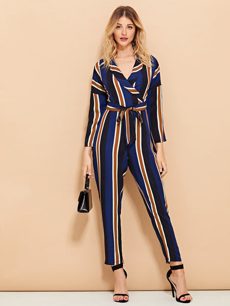 Striped Wrap Self Tie Waist Jumpsuit