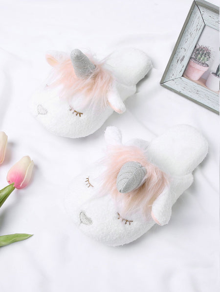 Unicorn Design Two Tone Flat Slippers