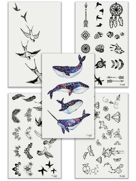 Bird & Whale Tattoo Sticker Set 5pcs