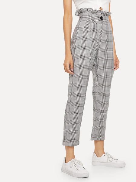 Plaid Ruffle Trim Pants