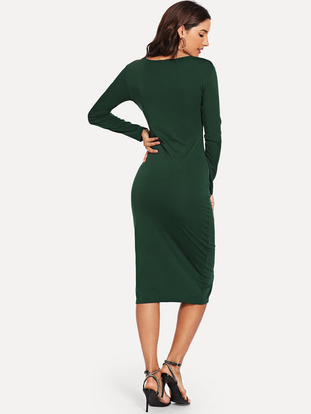 Twist Plunge Neckline Slit Midi Dress