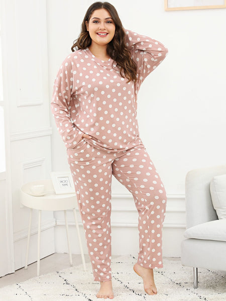 Plus Polka Dot Pajama Set