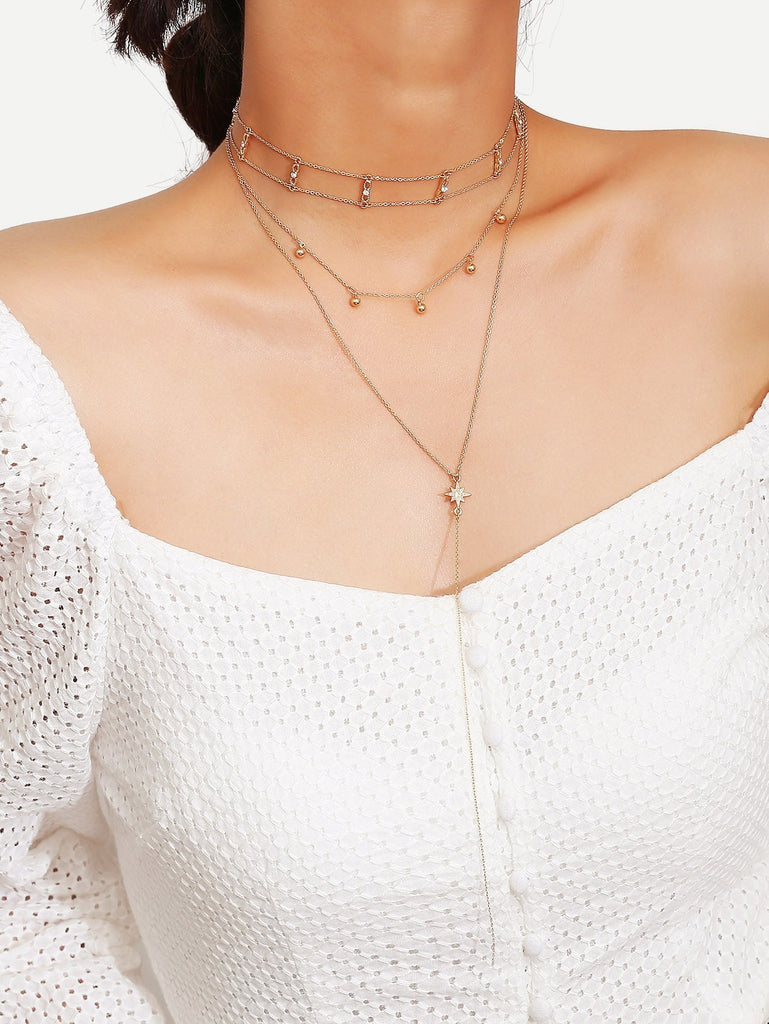 Double Layered Chain Choker & Lariats Necklace