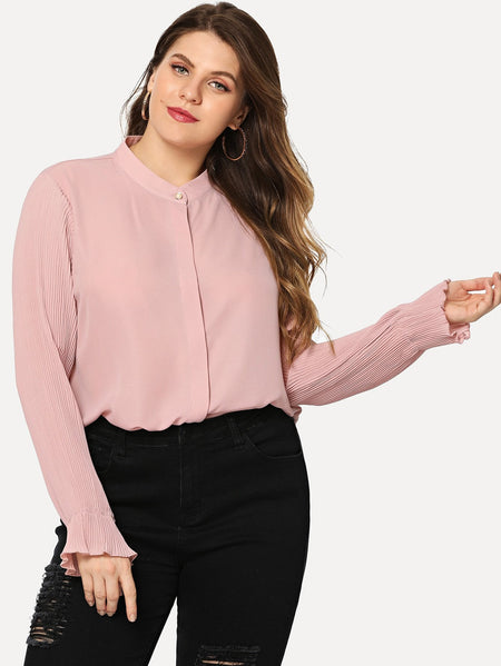 Plus Crinkle Sleeve Chiffon Shirt