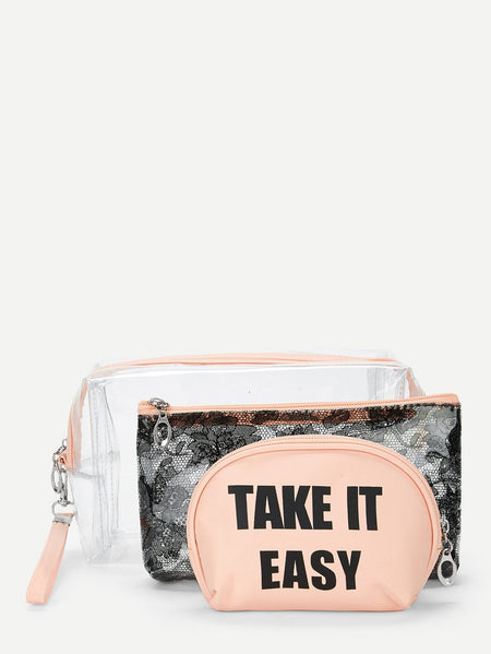 Letter Print Makeup Bag 3Pcs