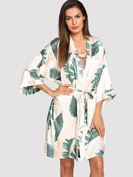 Tropical Print Self Tie Robe