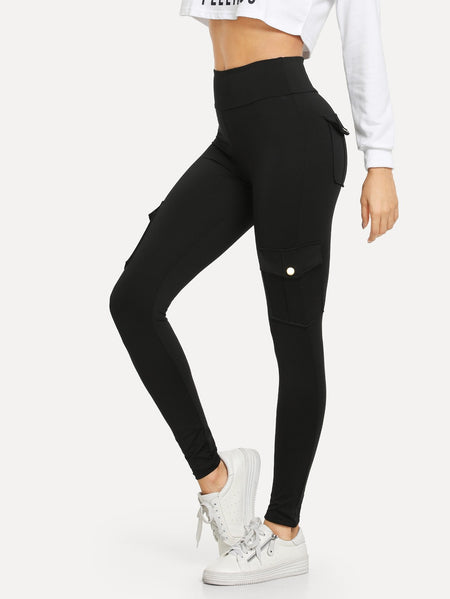Button Pocket Detail Solid Leggings