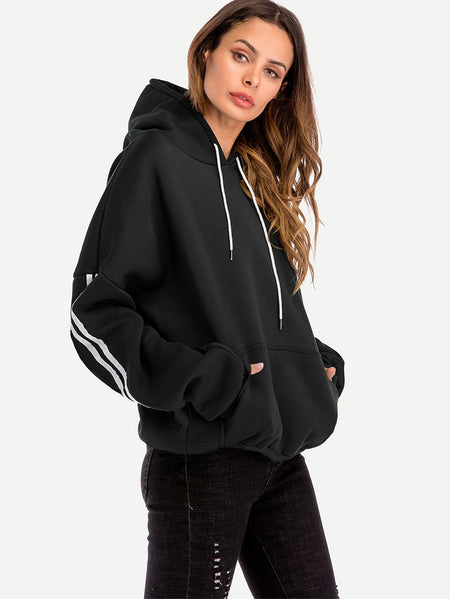 Drawstring Hoodie Striped Sleeve Sweatshirt
