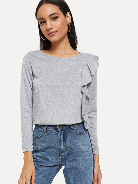 Ruffle Trim Solid Sweatshirt