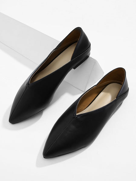 V Cut Point Toe Flats