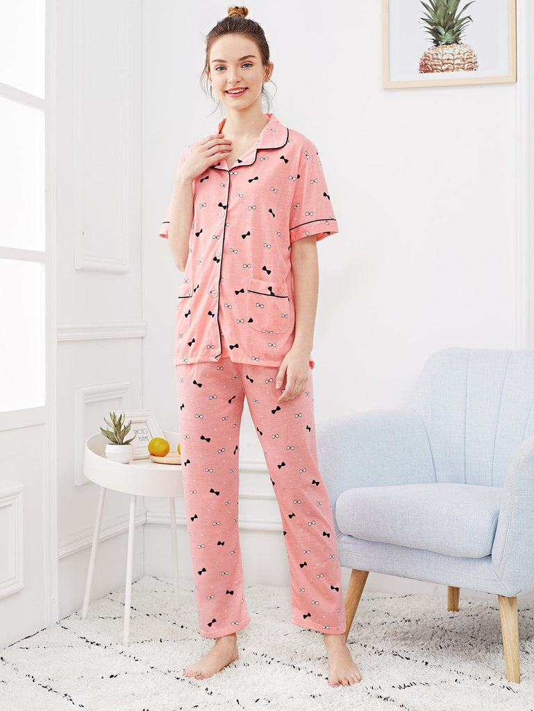 Bow Print Button Up Pajama Set