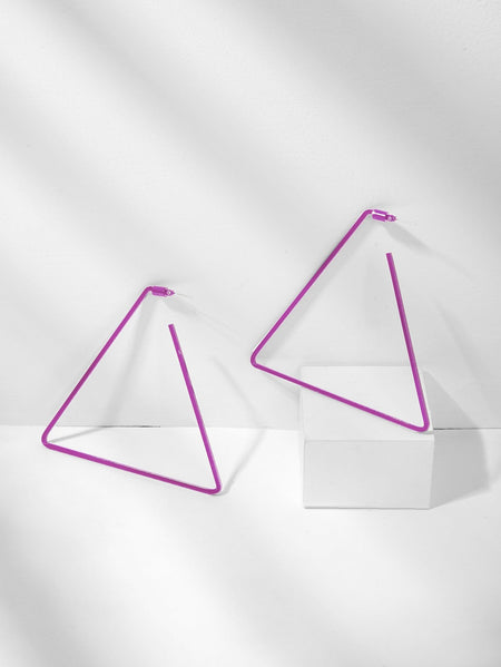 Plain Open Triangle Drop Earrings 1pair