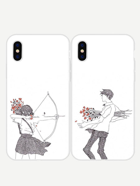 Figure Print Couple iPhone Cases 2pack