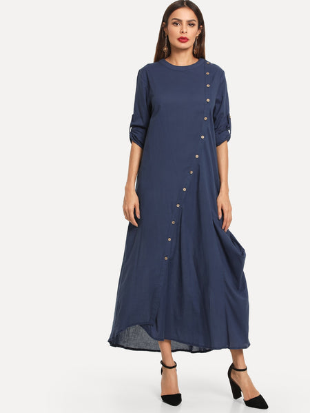 Button Through Roll Tap Lightweight Maxi Dress