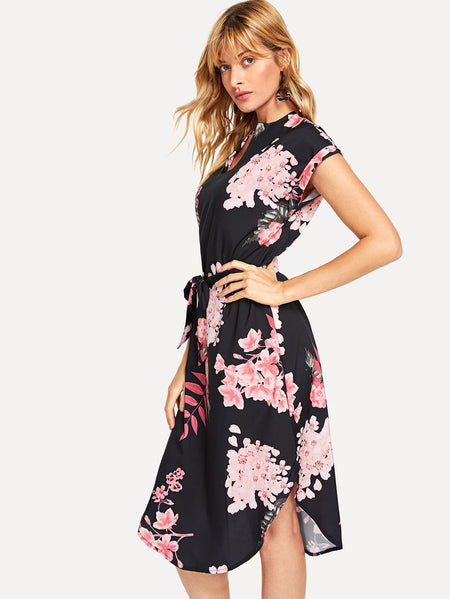 Floral Print Curved Hem Self Tie Dress