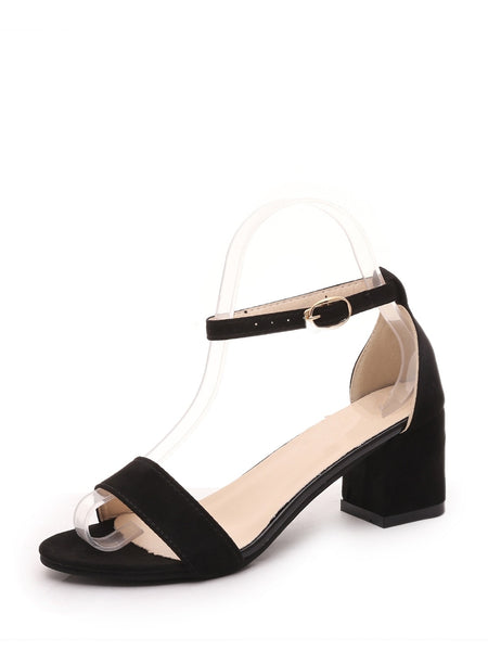 Block Heeled Ankle Strap Sandals
