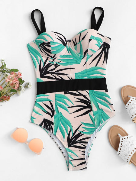 Leaf Print Bustier One Piece Swimsuit