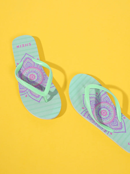 Star And Striped Print Flip Flops