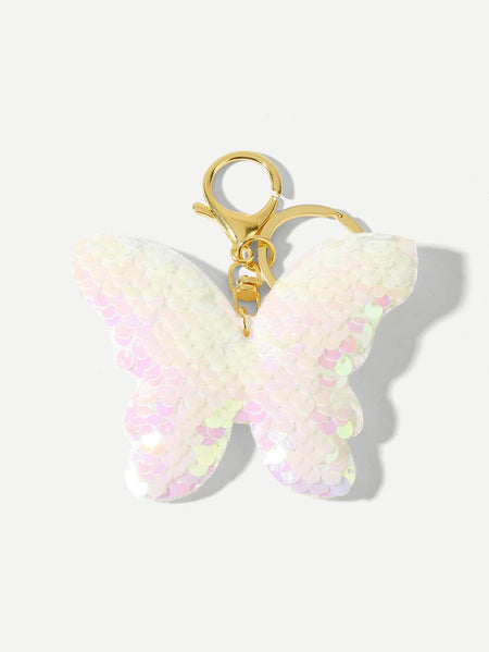 Sequin Butterfly Design Keychain