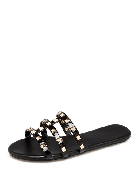 Studded Decor Flat Sliders