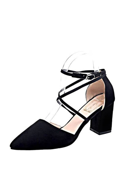 Cross Strap Pointed Toe Heels