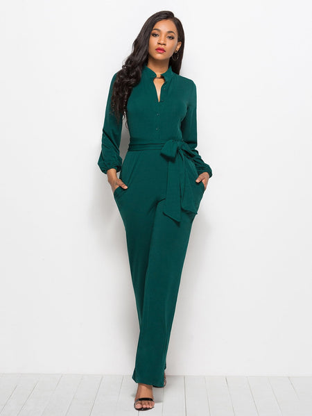 Tie Waist Shirt Detail Jumpsuit