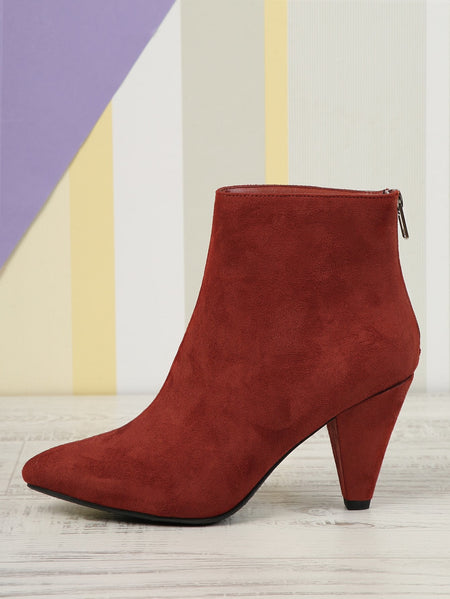 Faux Suede Pointed Toe High Heel Booties