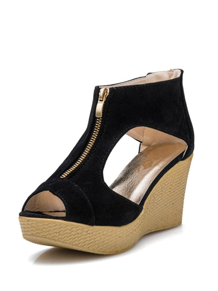 Zip Front Peep Toe Wedge Sandals