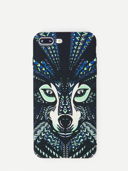Wolf Face Print Luminous iPhone Case