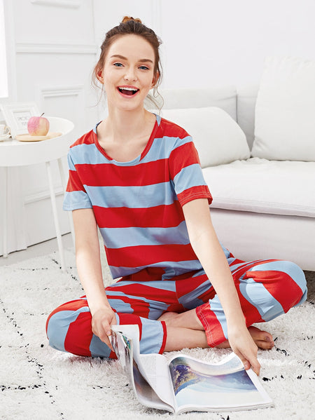 Two Tone Striped Pajama Set