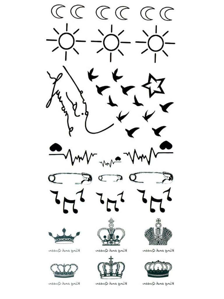 Sun & Crown Tattoo Sticker