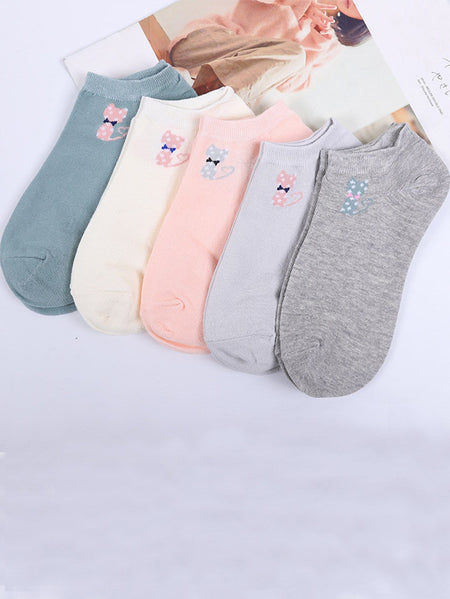 Cat Detail Ankle Socks 5pairs
