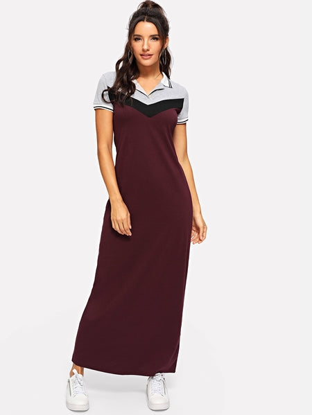 Striped Trim Cut & Sew Maxi Polo Dress