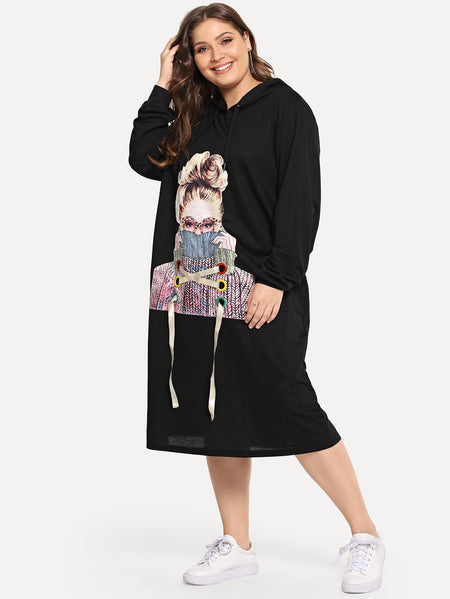 Plus Ribbon Figure Print Hooded Dress