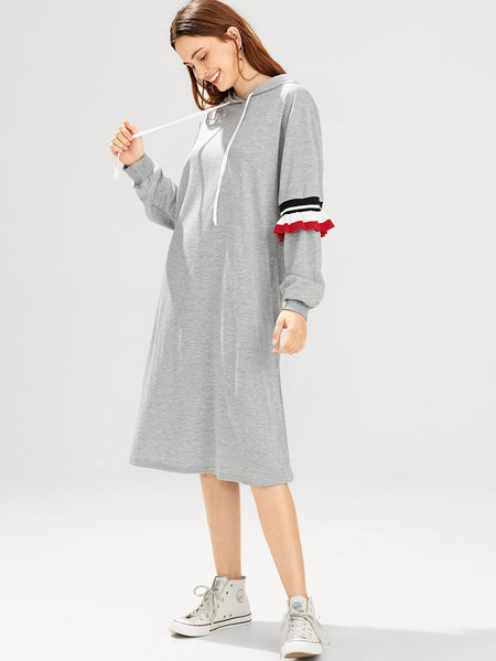 Contrast Ruffle Hooded Dress