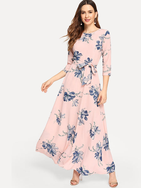 Floral Print Self Tie Maxi Dress