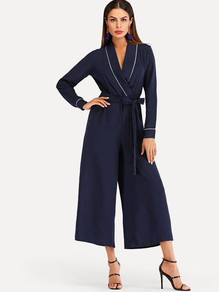 Wrap Self Tie Waist Jumpsuit