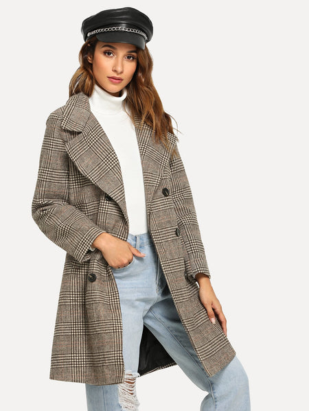 Double Breasted Wales Check Coat